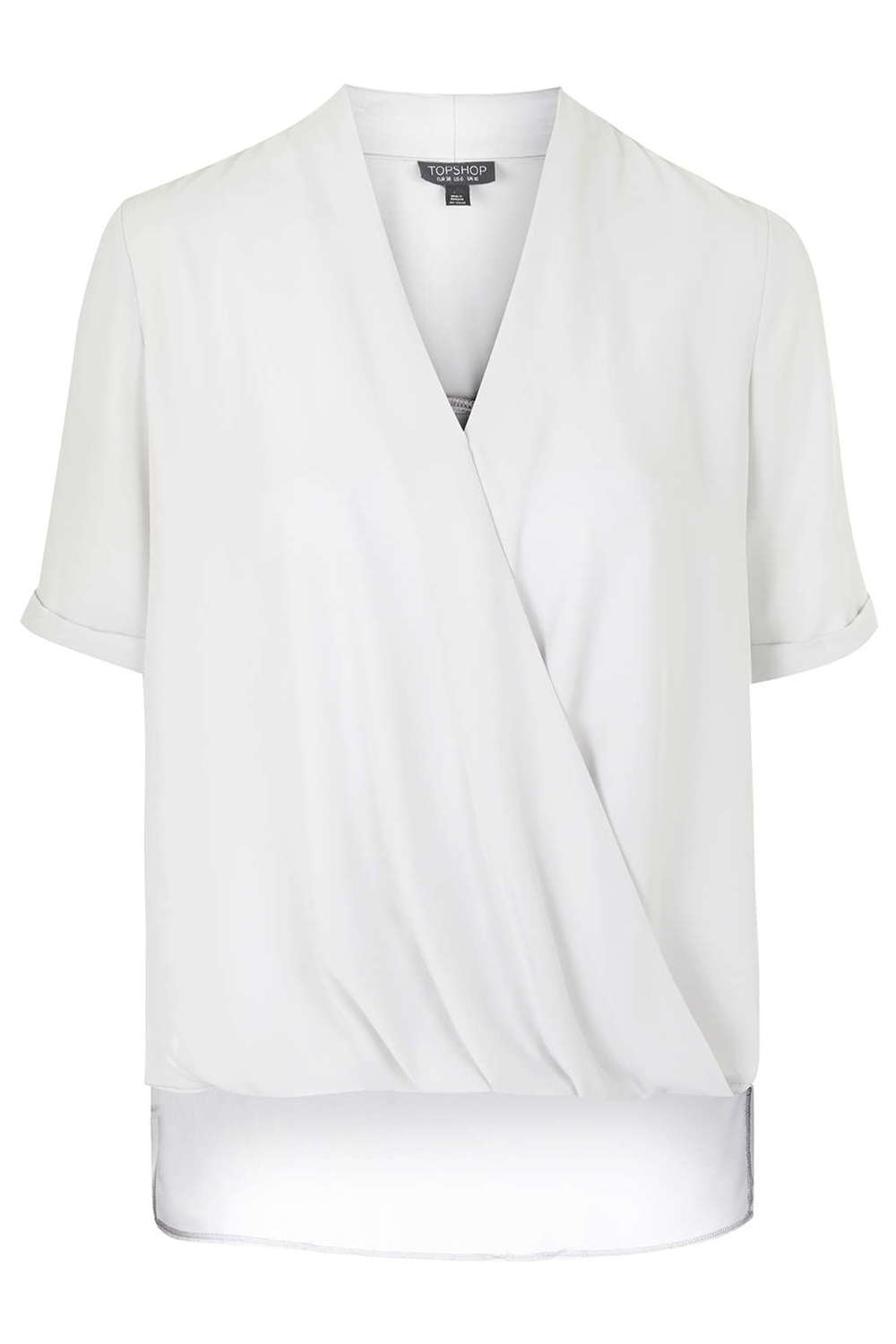 Light Grey Drape Sleeve Blouse. (Polyester) Topshop. $60.
