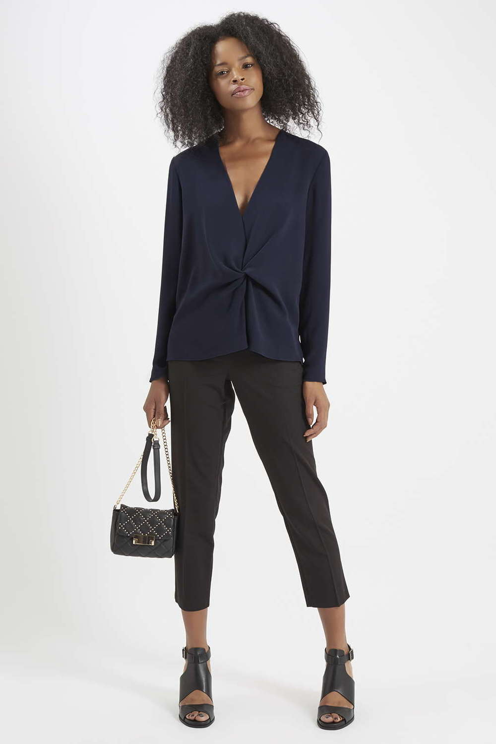 Tuck Drape Front Blouse. (Polyester) Available in forest green, navy blue. Topshop. $65.