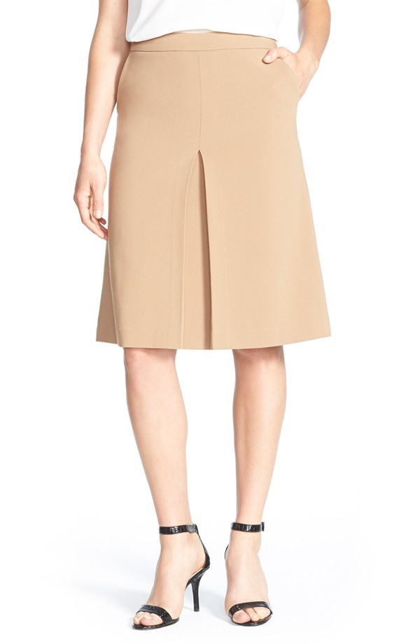 Halogen Pleat Front A Line Skirt. (Polyester/ Rayon)  Available in dark camel, black. Nordstrom. Was: $79 Now: $47.