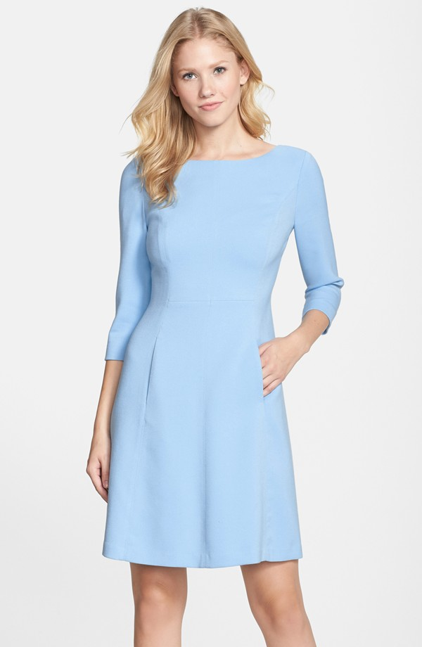 Vince Camuto Crepe A Line Dress. (Polyester/ rayon/ spandex) Available in multiple colors. Also available in regular and petite. Nordstrom. $148.