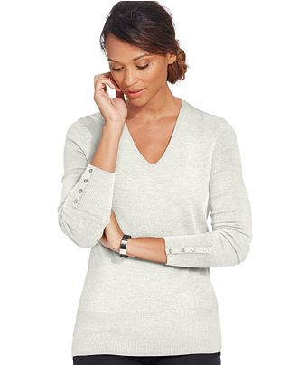 JM Collection Petite Button Sleeve Sweater. Available in multiple colors. (Eggshell pictured). Macy's. Was: $49 Now: $23.
