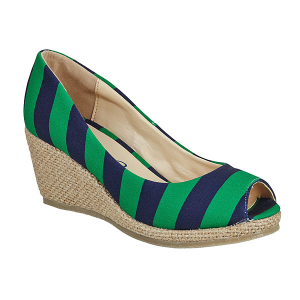 Dark Blue & Kelly Green Wedges. Lilly Bee. $88.