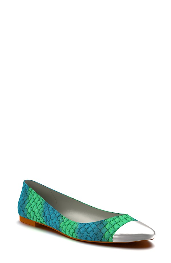 Shoes of Prey Cap Toe Fish Scale Ballet Flat. Nordstrom. Was: $168 Now: $101.