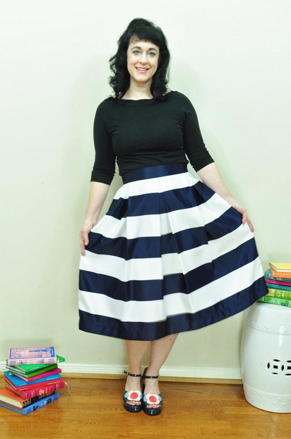 Navy and White Striped Custom Made Skirt. Etsy. $95.