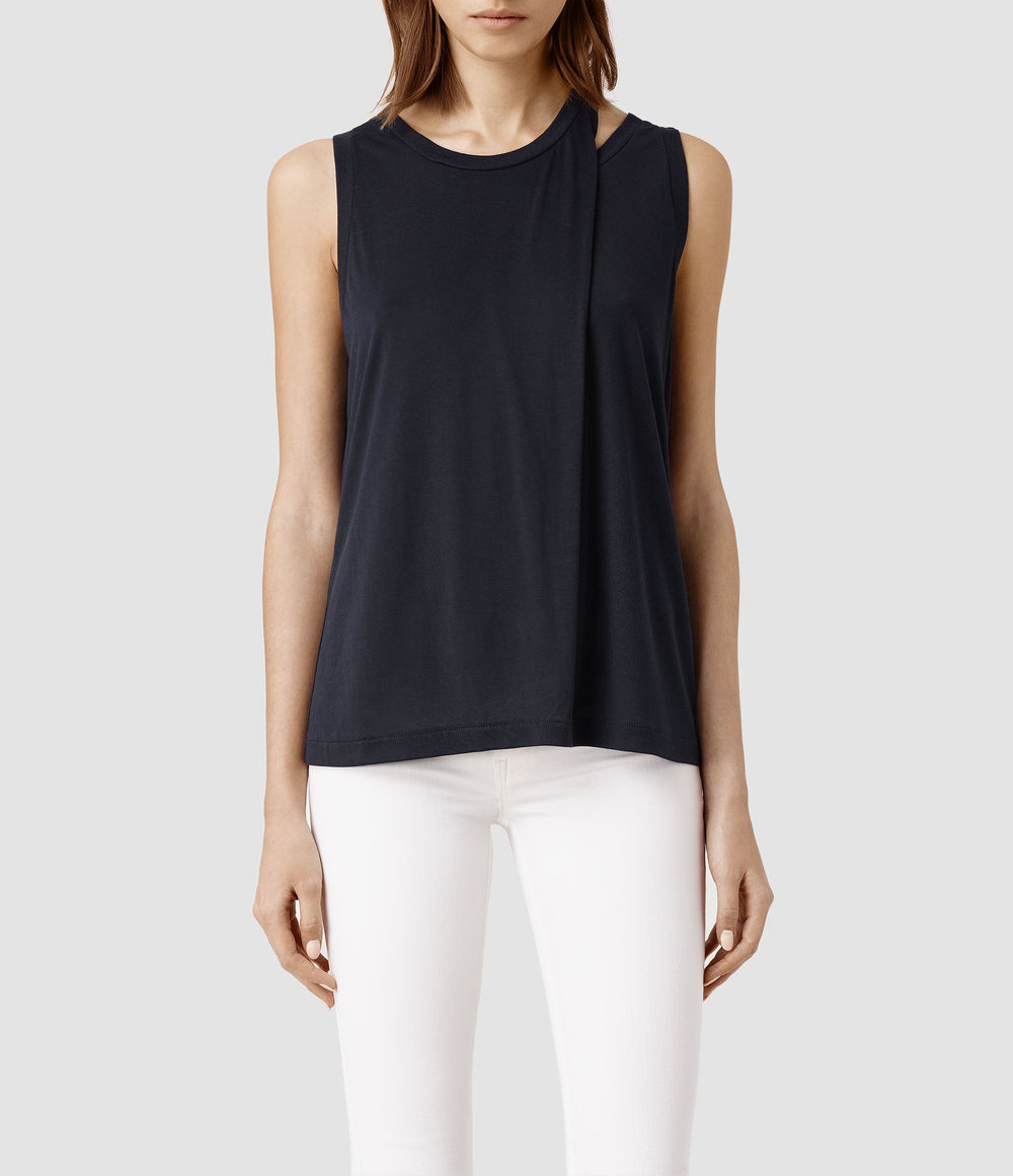 Caper Tank. Available in indigo, black, stone, gunmetal. All Saints. $58.