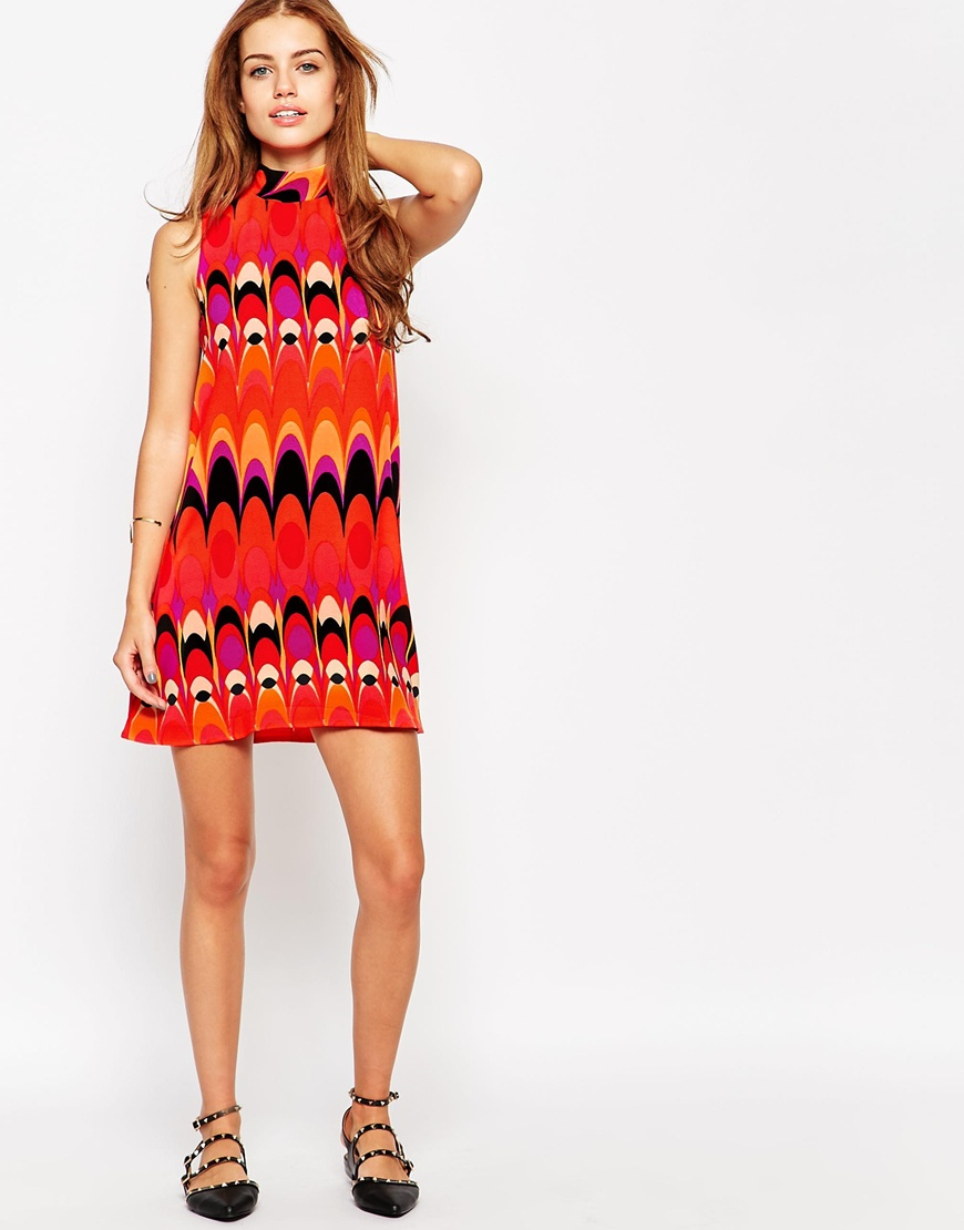 Petite Glamorous Petite Roll Neck 60s Geo Print Swing Dress. ASOS. $45.