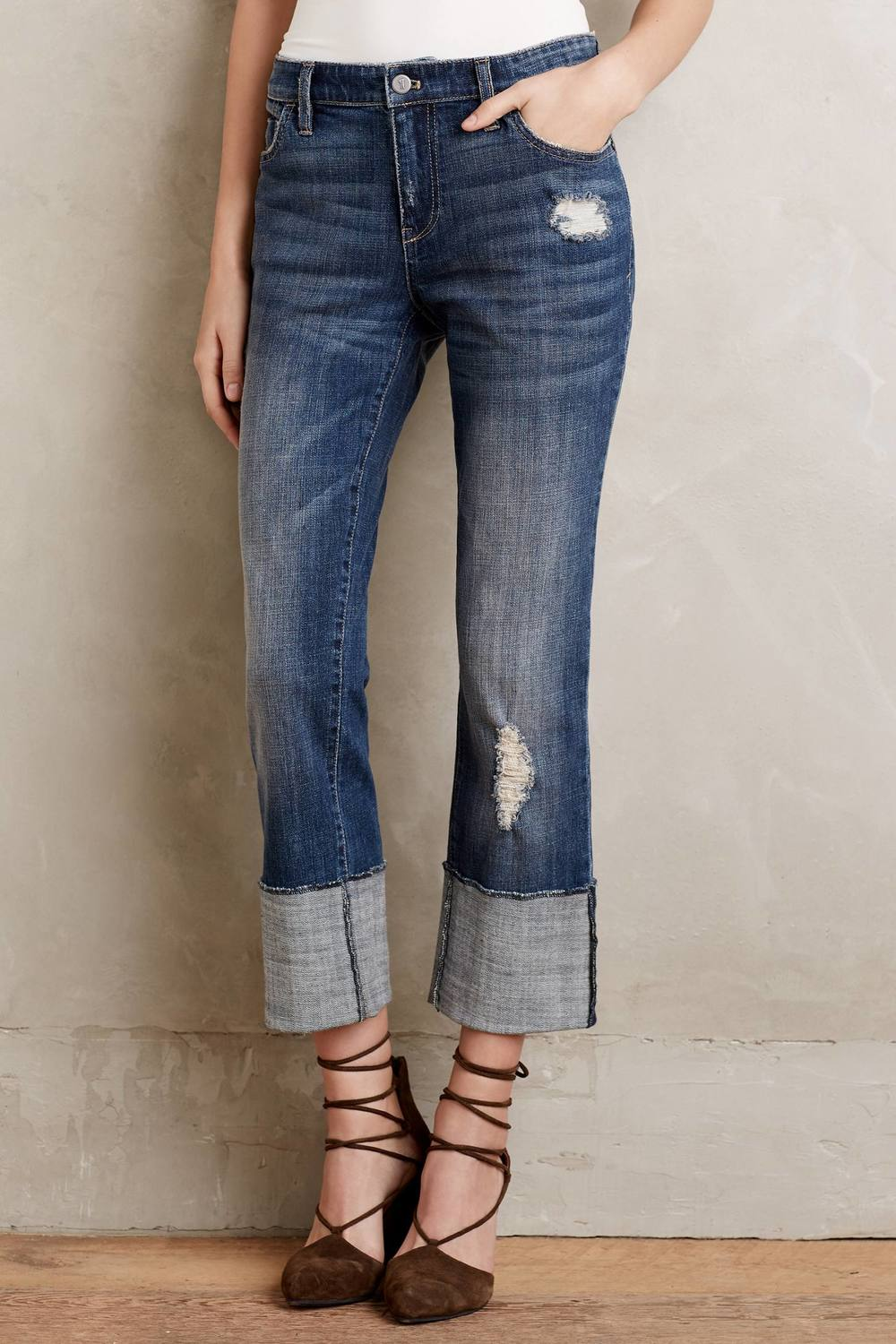 Petite Pilcro Hyphen High Cuff Jeans. Available in two washes. Anthropologie. $158.