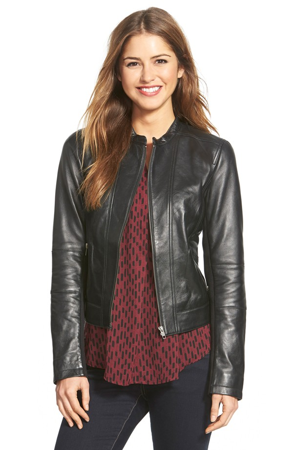 Petite Halogen Seam Detail Leather Jacket. Nordstrom. $298.