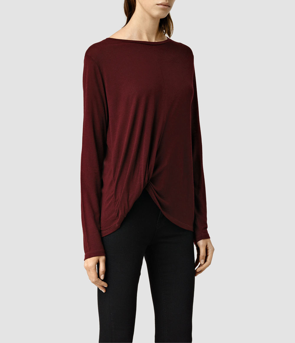 Cann Long Sleeve Tee. Available in cinder black marl, rust marl red. All Saints. $88. Additional 20% off all styles with code: November.