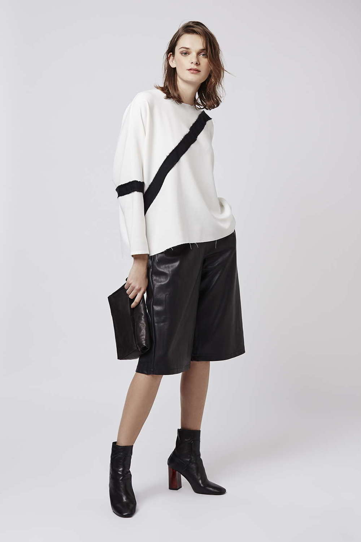 Contrast Grograin Sweatshirt. Available in grey, white. Tiptop. $80.