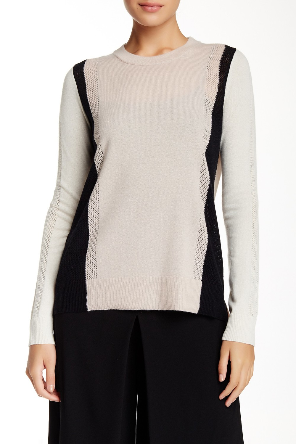 Vince Colorblock Long Sleeve Cashmere Sweater. Available in two color combos. Nordstrom Rack. Was: $325 Now: $134.