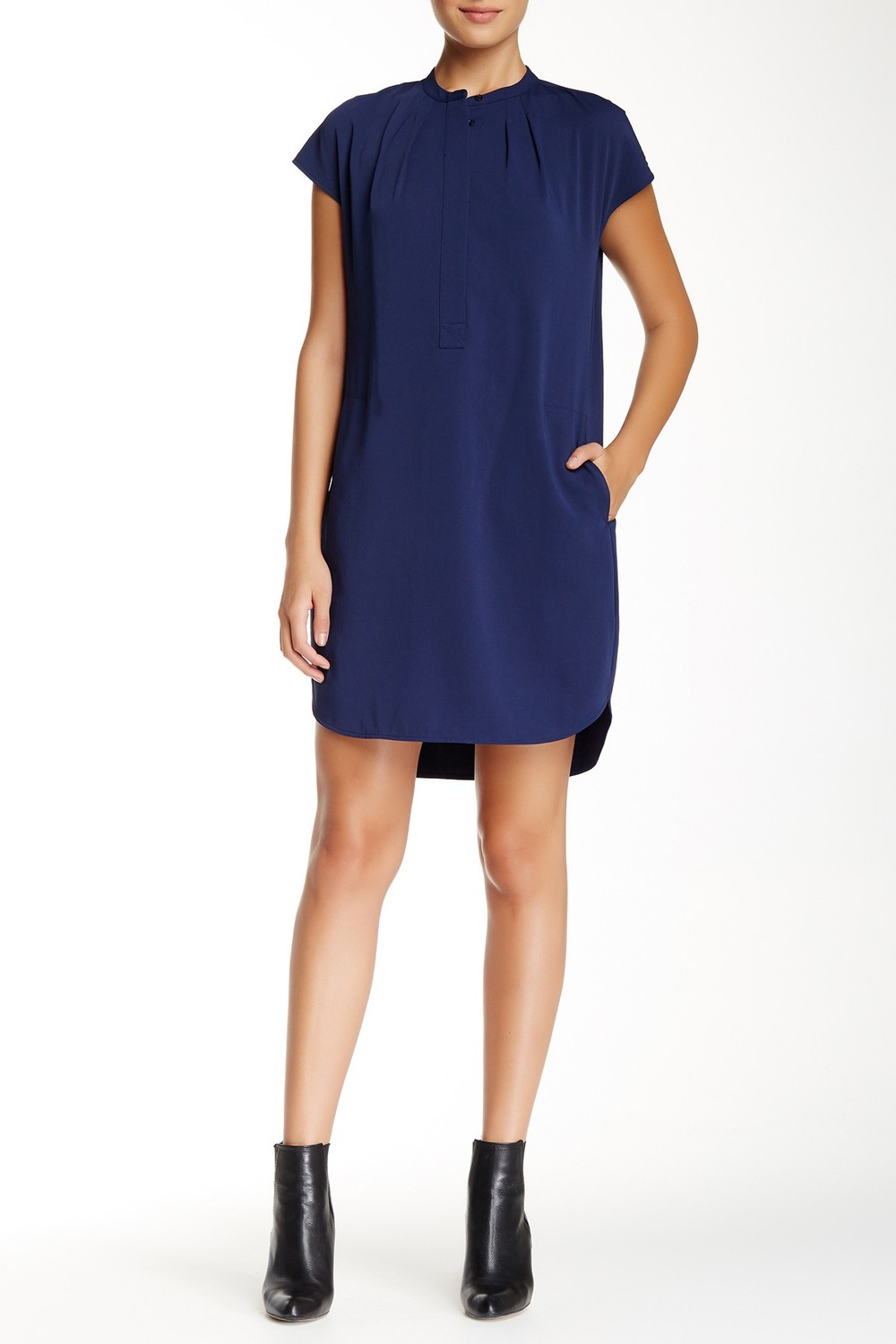 Vince Silk Combo Popover Dress. Available in two colors. Nordstrom Rack. Was: $365 Now: $149.