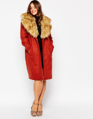 ASOS Curve Midi Coat with Faux Fur Collar. ASOS.com. $180.00