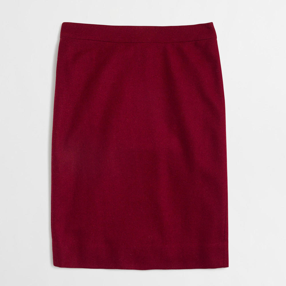 J.Crew Factory Pencil Skirt in Double Wool. Available in multiple colors. J.Crew Outlet. Valued at: $89 Now: $53.