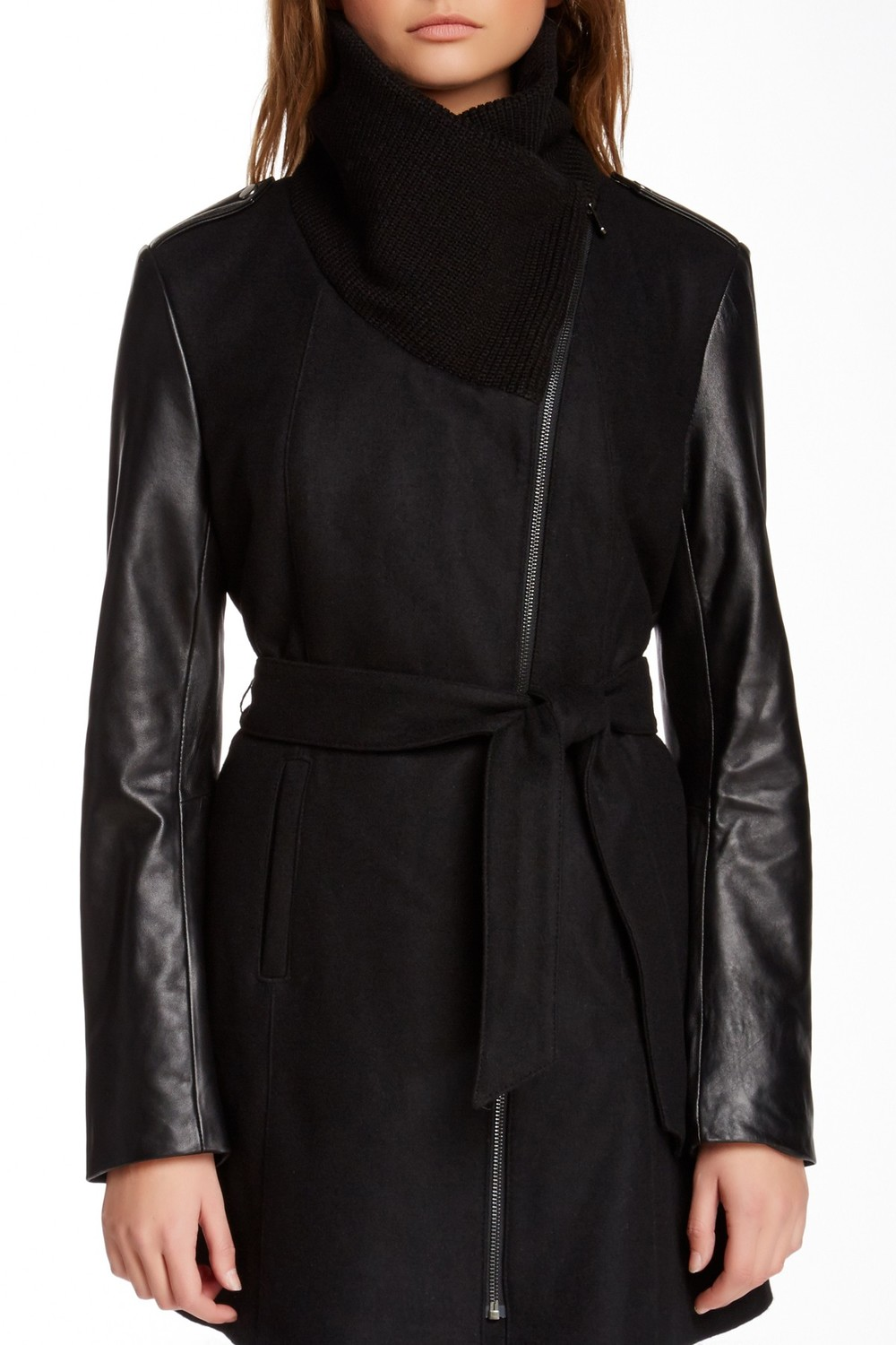 Truth of Touch Mercer Leather Sleeve Wool Blend Coat. Available in black, chocolate. Nordstrom Rack. Was: $325 Now: $129.