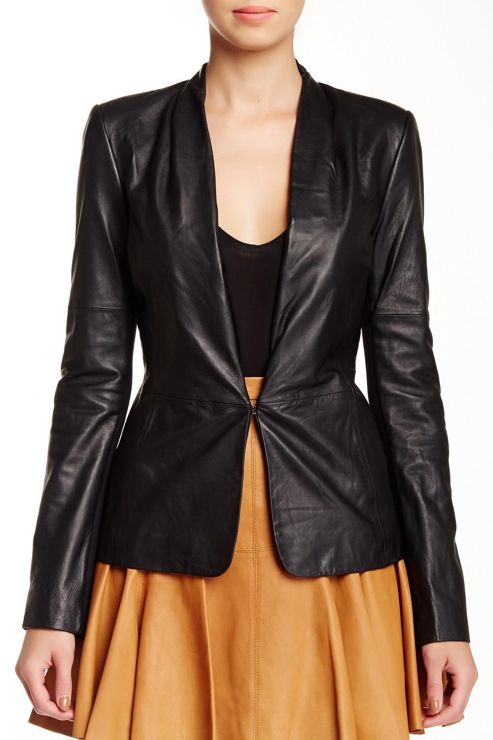 Halston Heritage Ribbed Back Leather Jacket. Nordstrom Rack. Was: $995 Now: $299.