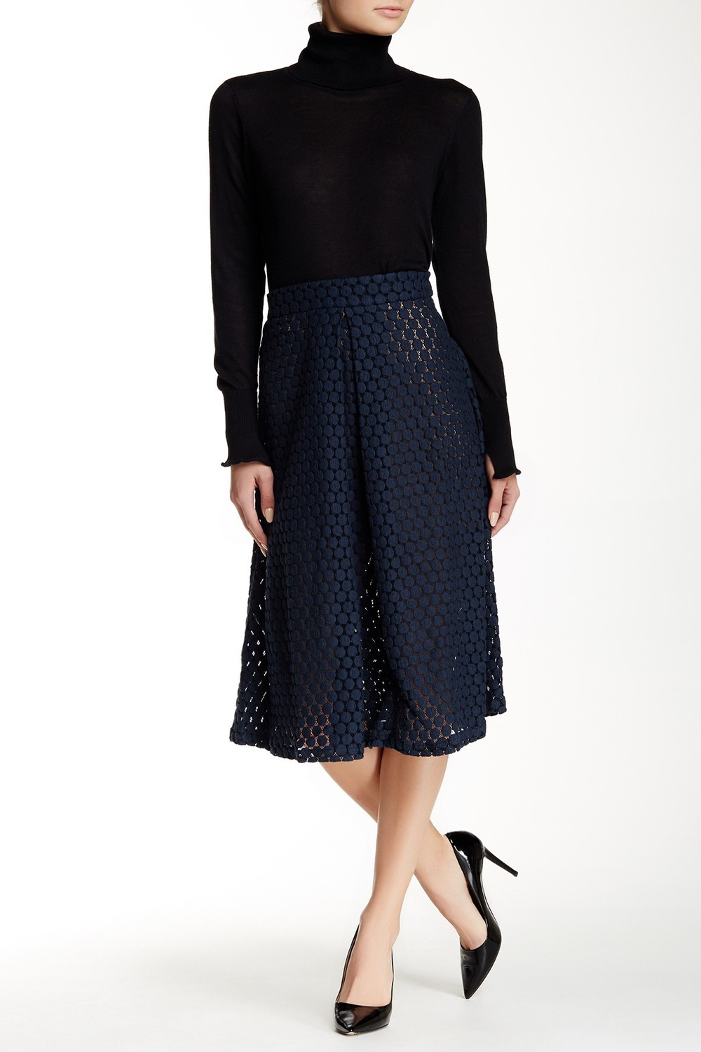 David Lerner Lace Midi Skirt. Available in ink, white. Nordstrom Rack. Was: $284 Now: $129.