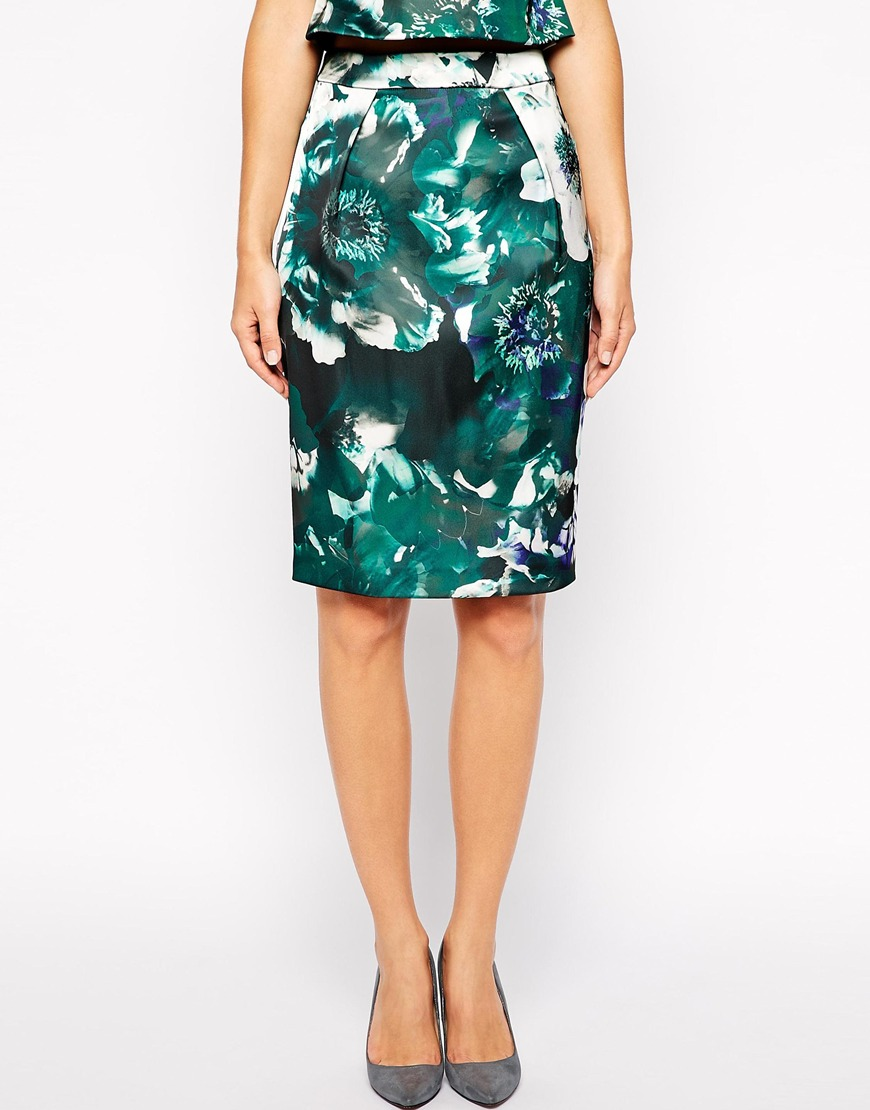 Warehouse Enlarged Floral Bonded Pencil Co-Ord Skirt. ASOS. Was: $117 Now: $83.