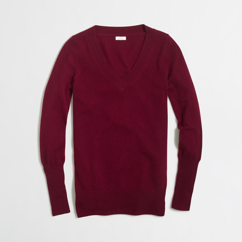 J. Crew Factory Cashmere V-Neck Sweater. Available in multiple colors. J.Crew Outlet. Valued at $158 Now: $94.