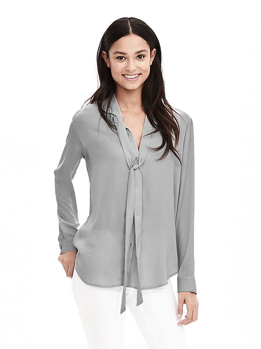 Metallic Tie Front Blouse. Available in multiple colors. Banana Republic. $89. (just wait, it will go on sale.)