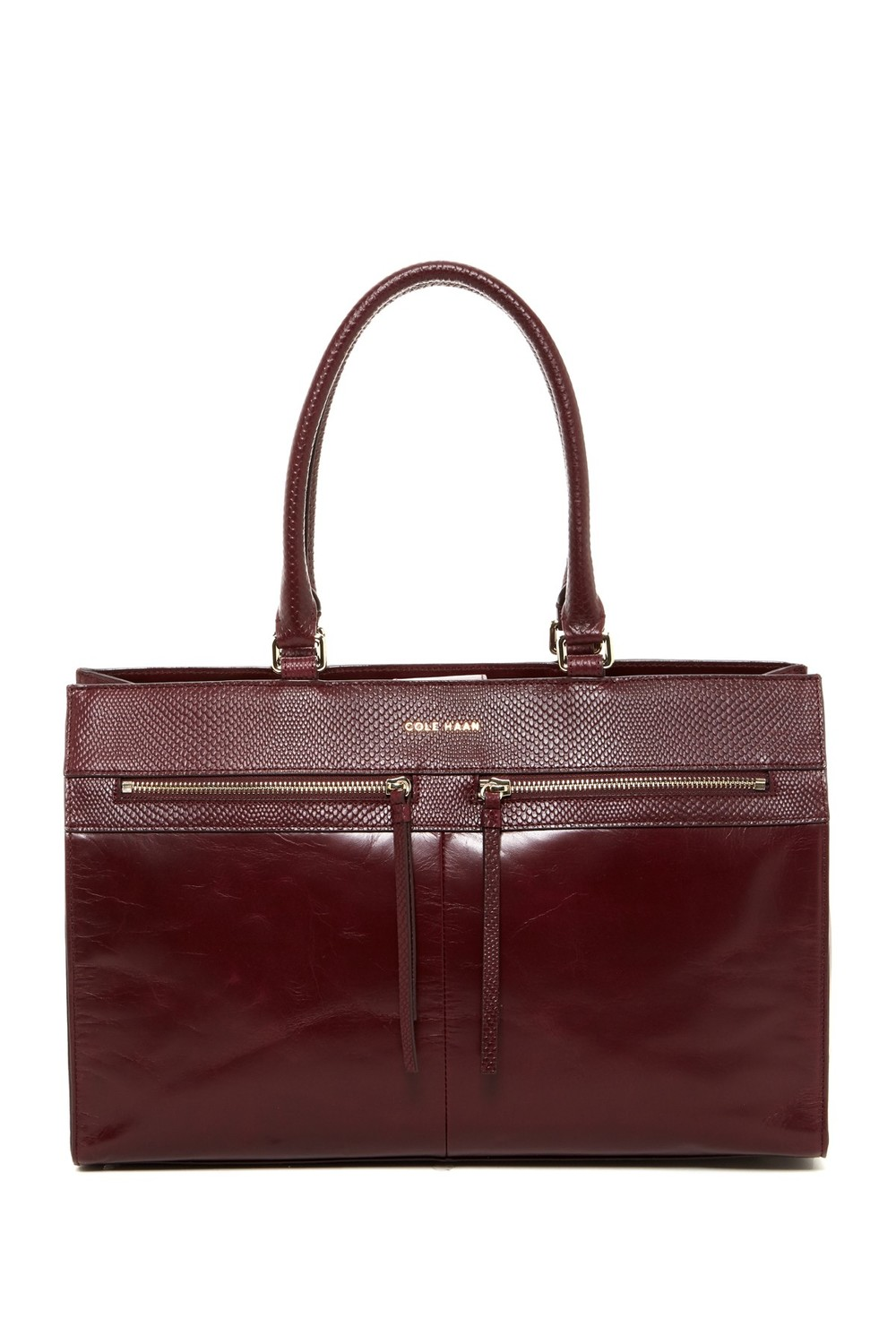 Cole Haan Reese Large Glazed Tote. Available in zinfandel, black. Nordstrom Rack. Was: $328 Now: $164.