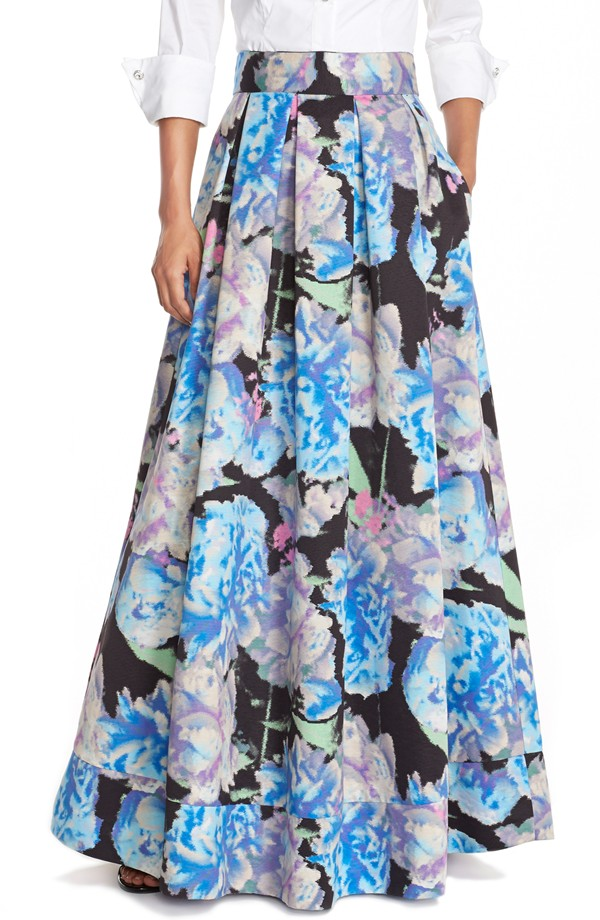 Eliza J Floral Print Faille Ball Skirt