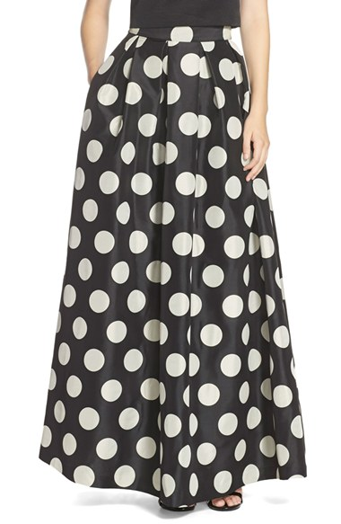 Eliza J Polka Dot Woven Ball Skirt