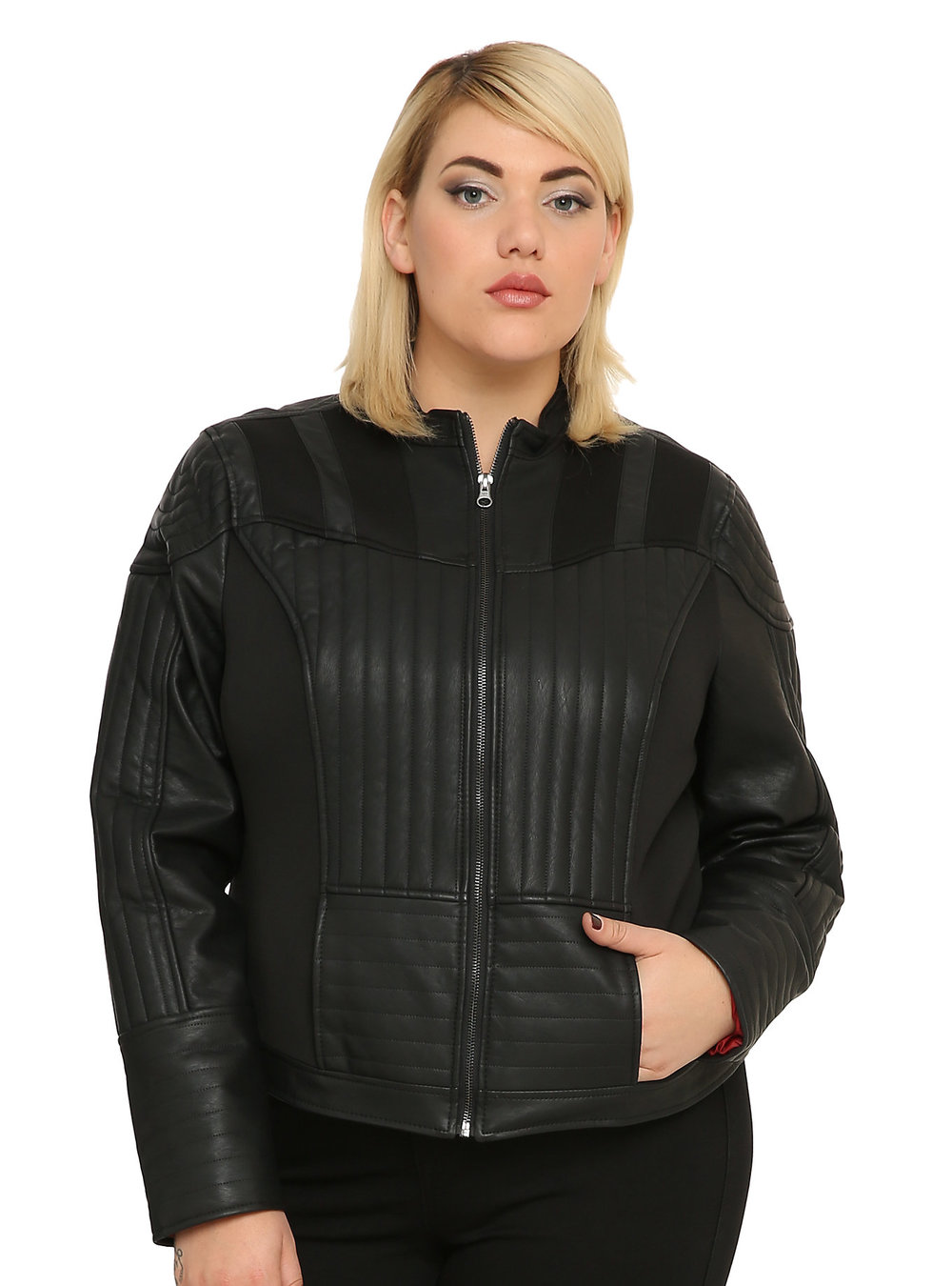 Darth Vader Faux Leather Jacket. Hot Topic. Was: $89 Now: $62. Available in straight and plus sizes.