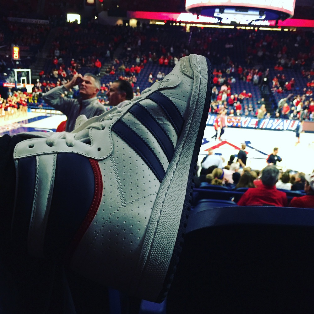 Supporting the University of Arizona Wildcats in my Adidas Originals Top Ten High Tops. Urban Outfitters. $100.