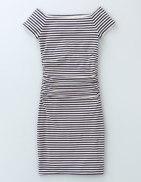 Off Shoulder Ruched Dress. Available in navy/white stripe, black, coral. Boden. Was: $108 Now: $97.