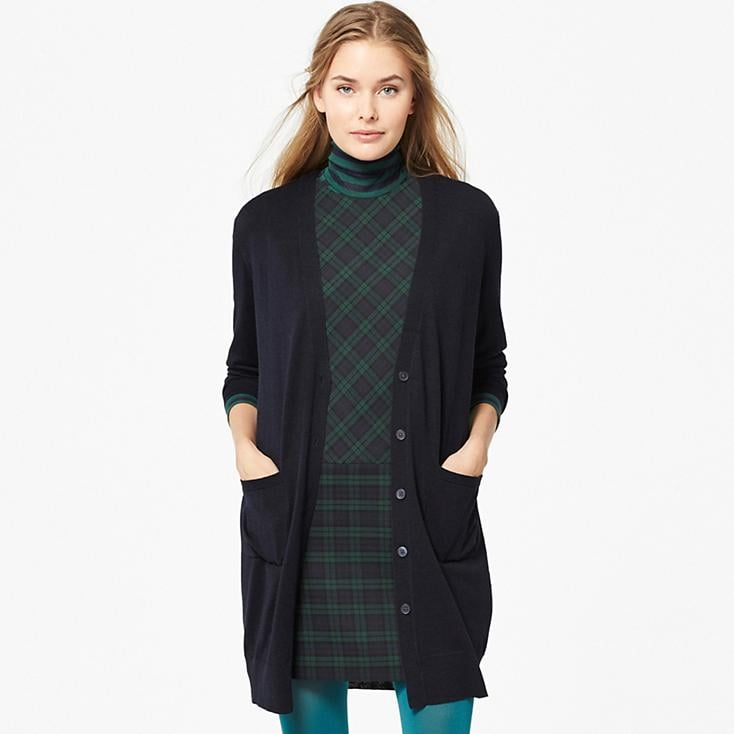 Merino Blended Cardigan. Available in multiple colors (navy pictured). Uniqlo. $39.