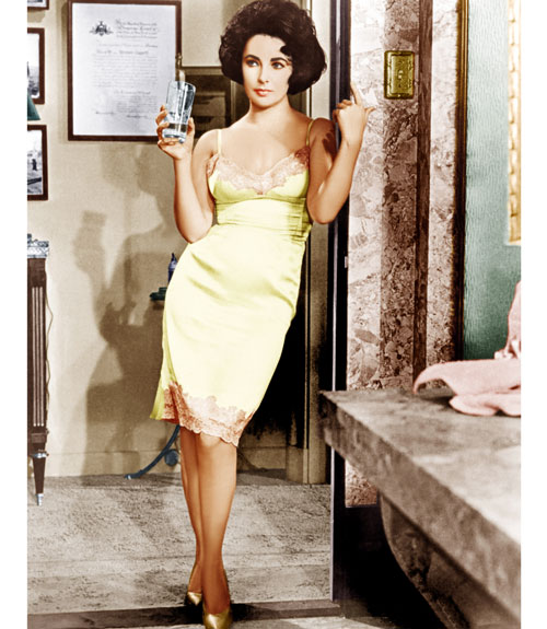 Liz Taylor in Cat on a Hot Tin Roof.