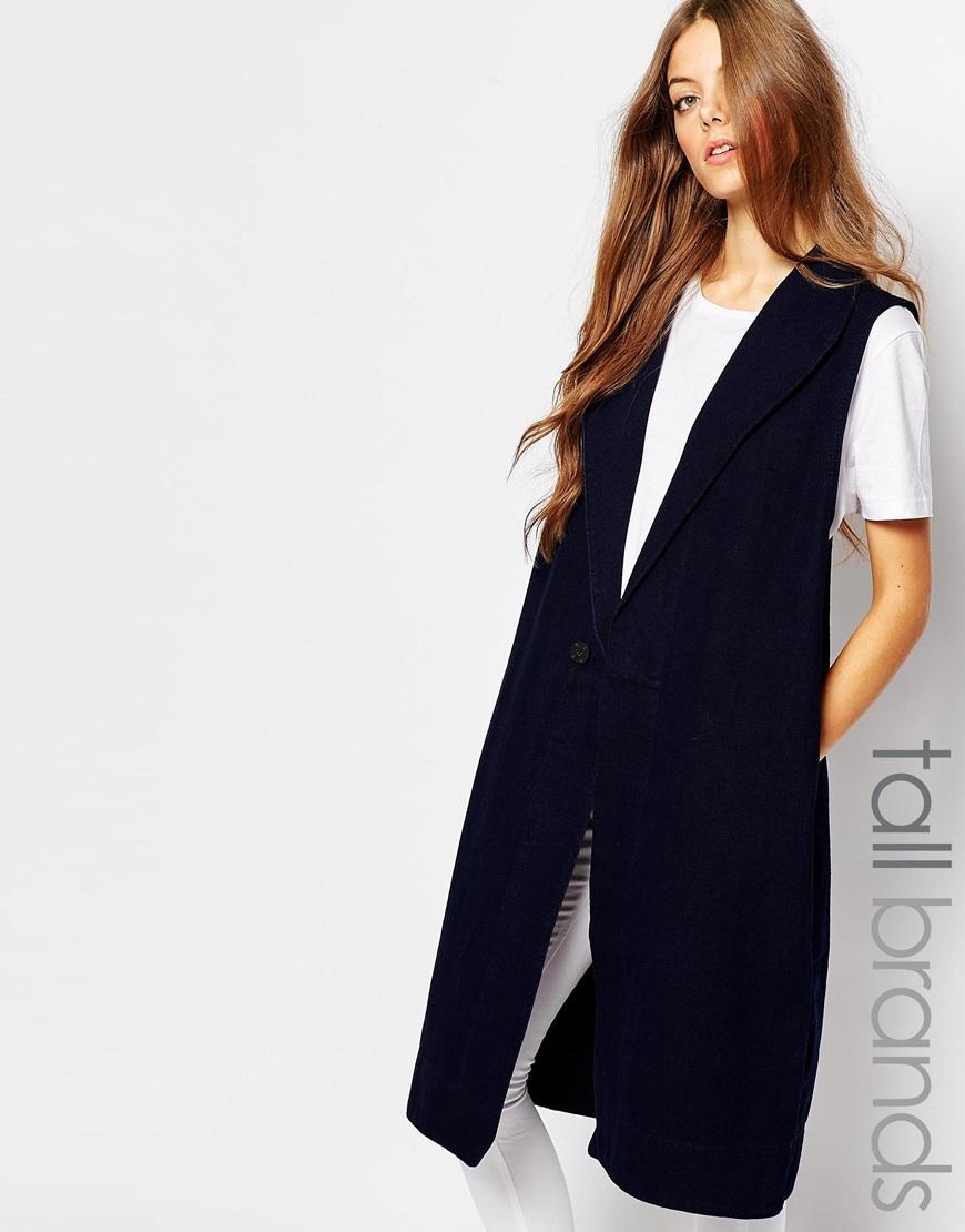 (Blue) Waven Tall Isa Longline Sleeveless Vest. ASOS. $103.