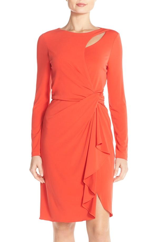 Tahari Knot Waist Jersey Sheath Dress. Nordstrom. Was: $128 Now: $76.
