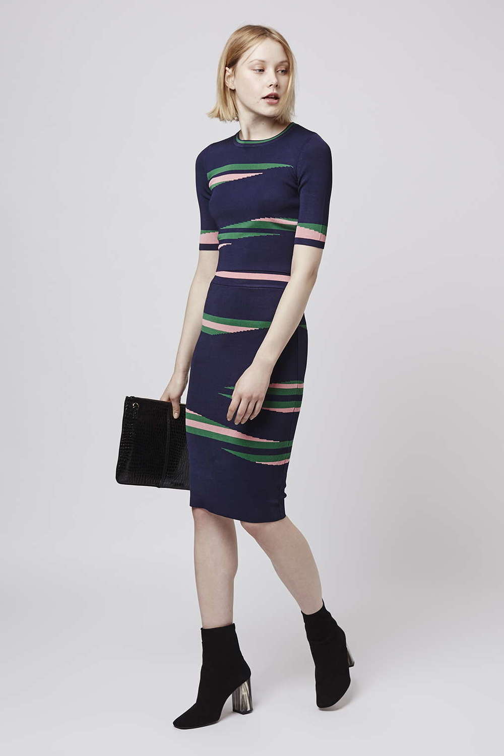 Eraser Stripe Top and Skirt. Topshop. $150.