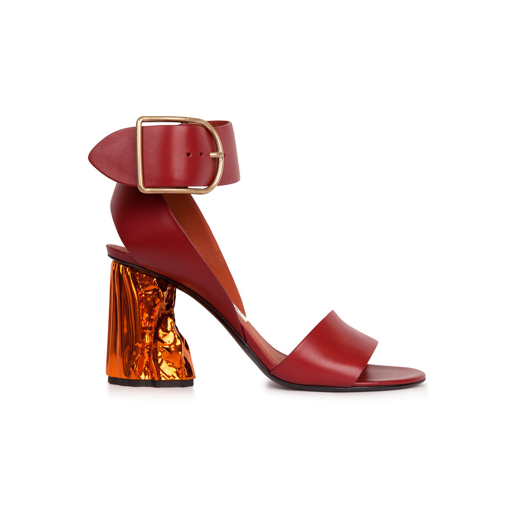 Acne Studios Red Obin Sandal. Grazia Shop. $508.