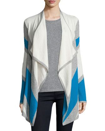 Cashmere Intarsia Draped Cardigan. Neiman Marcus Last Call. Was: $350 Now: $122.