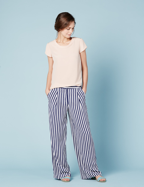 Petite Dolly Wide Leg Pant. Available in stripe, navy. Boden. $118.