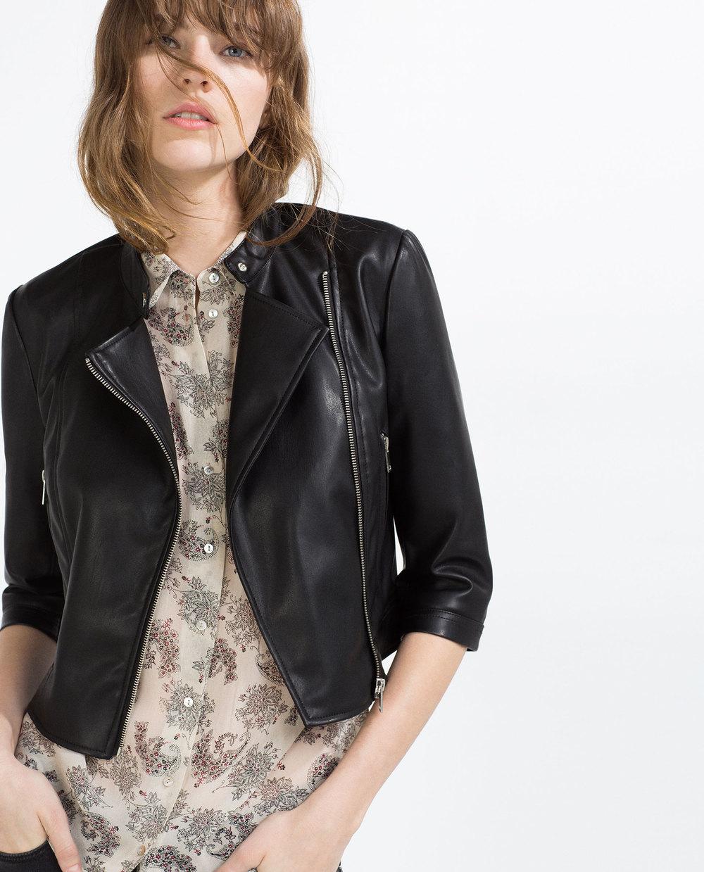 Vegan leather jacket. Zara. $49.