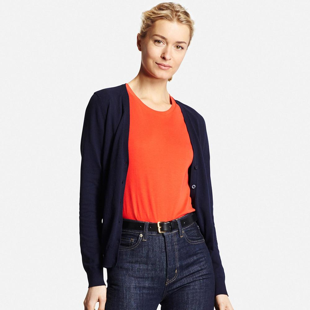 UV Cut V Neck Cardigan. (Navy) Available in multiple colors. Uniqlo. $29.