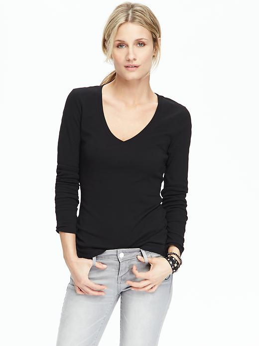 Petite Perfect V- Neck Tee. Available in multiple colors. Was: $10 Now: $8.