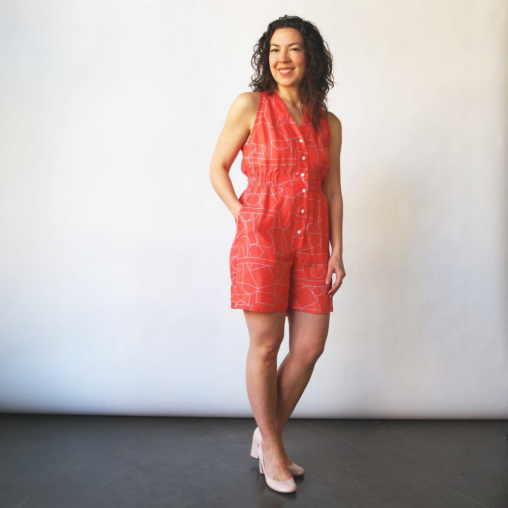 Romper in Blockhead Red. Velouria. $315.