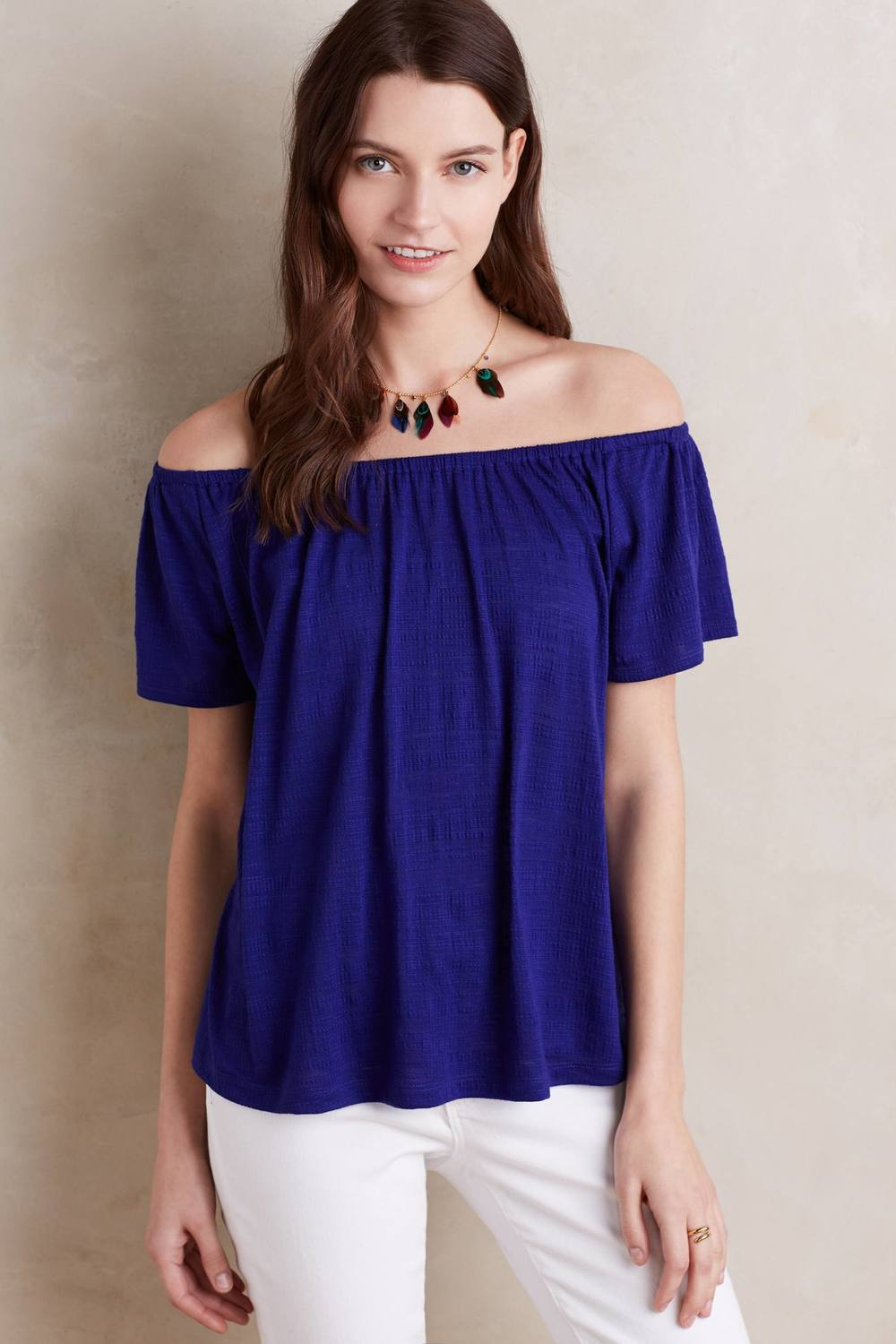 Edda Off the Shoulder Tee. Available in purple, white. Anthropologie. $68.