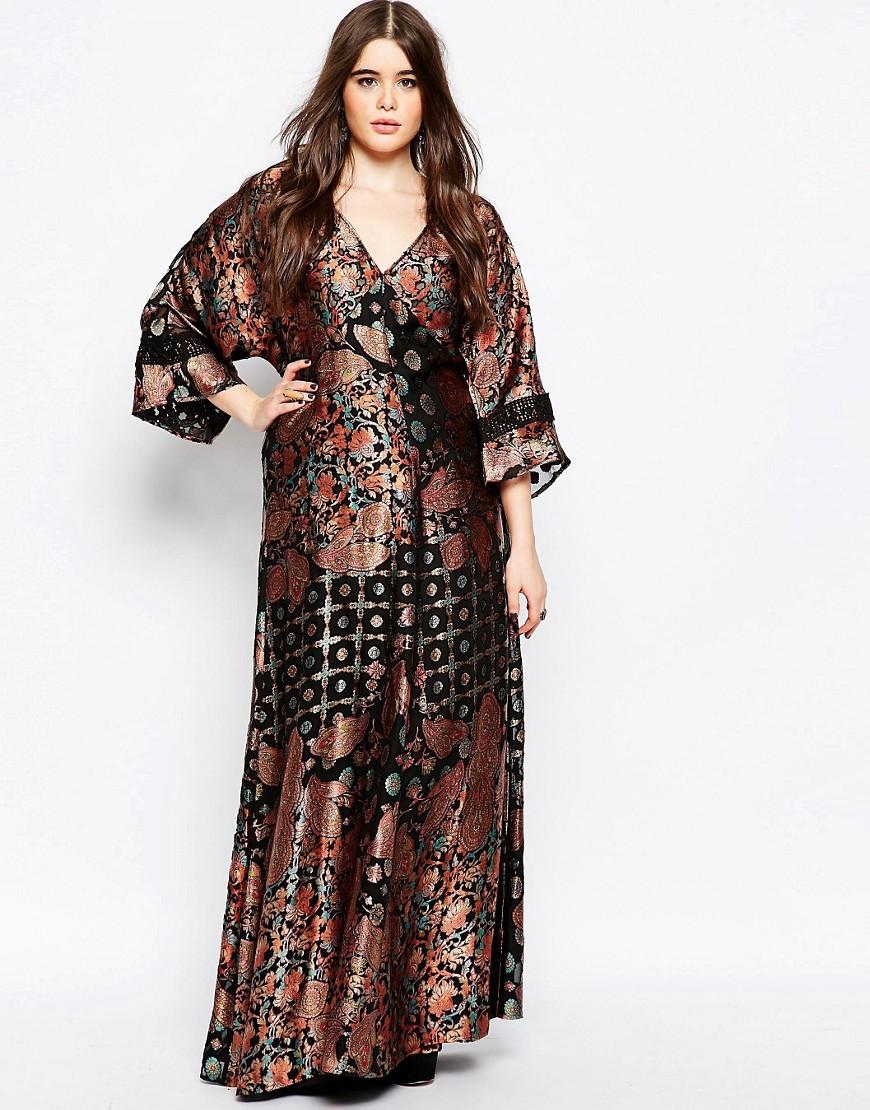 ASOS CURVE 70s Kimono Maxi Dress in Paisley Burnout.ASOS. $140.