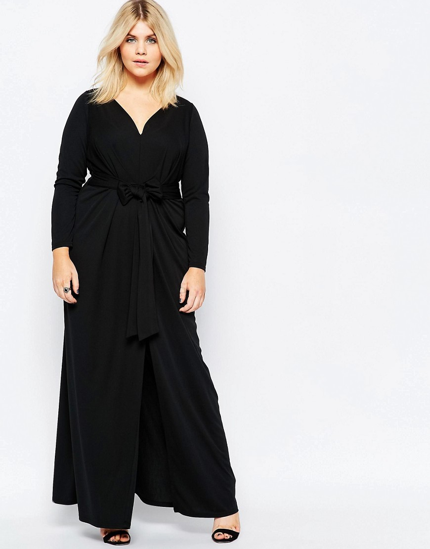 ASOS CURVE Maxi Dress with Tie Front. ASOS. $94.(Polyester).