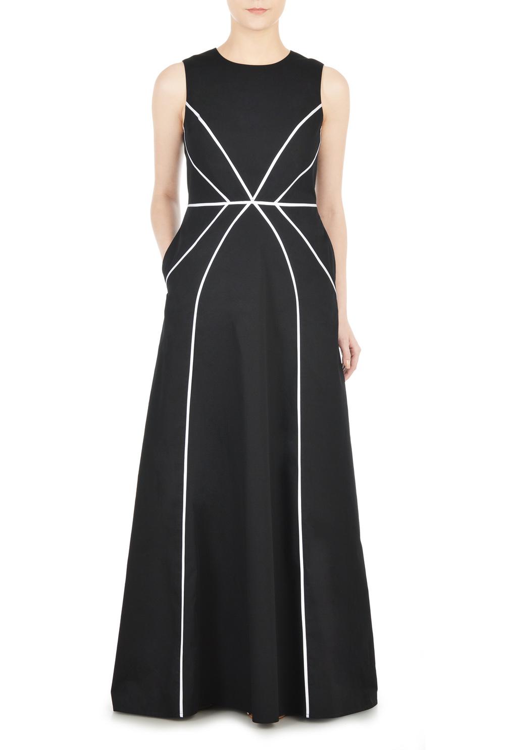 CONTRAST PIPED TRIM POPLIN MAXI DRESS. eshakti. $59.