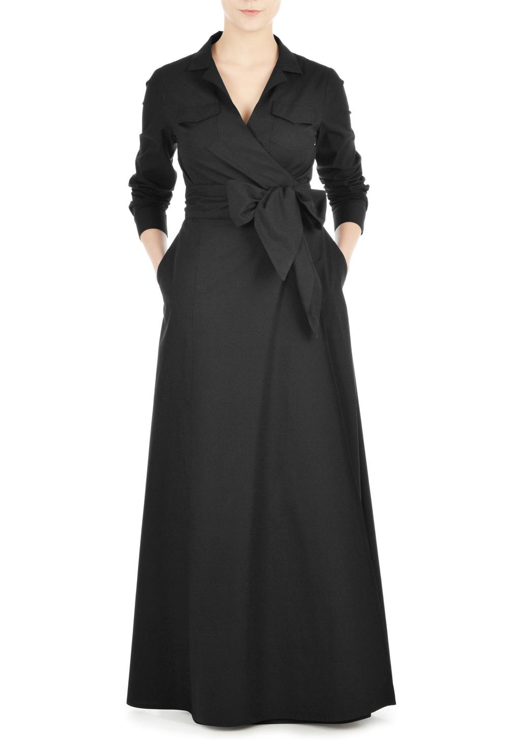 SASH TIE POPLIN MAXI WRAP DRESS. eshakti. $74.