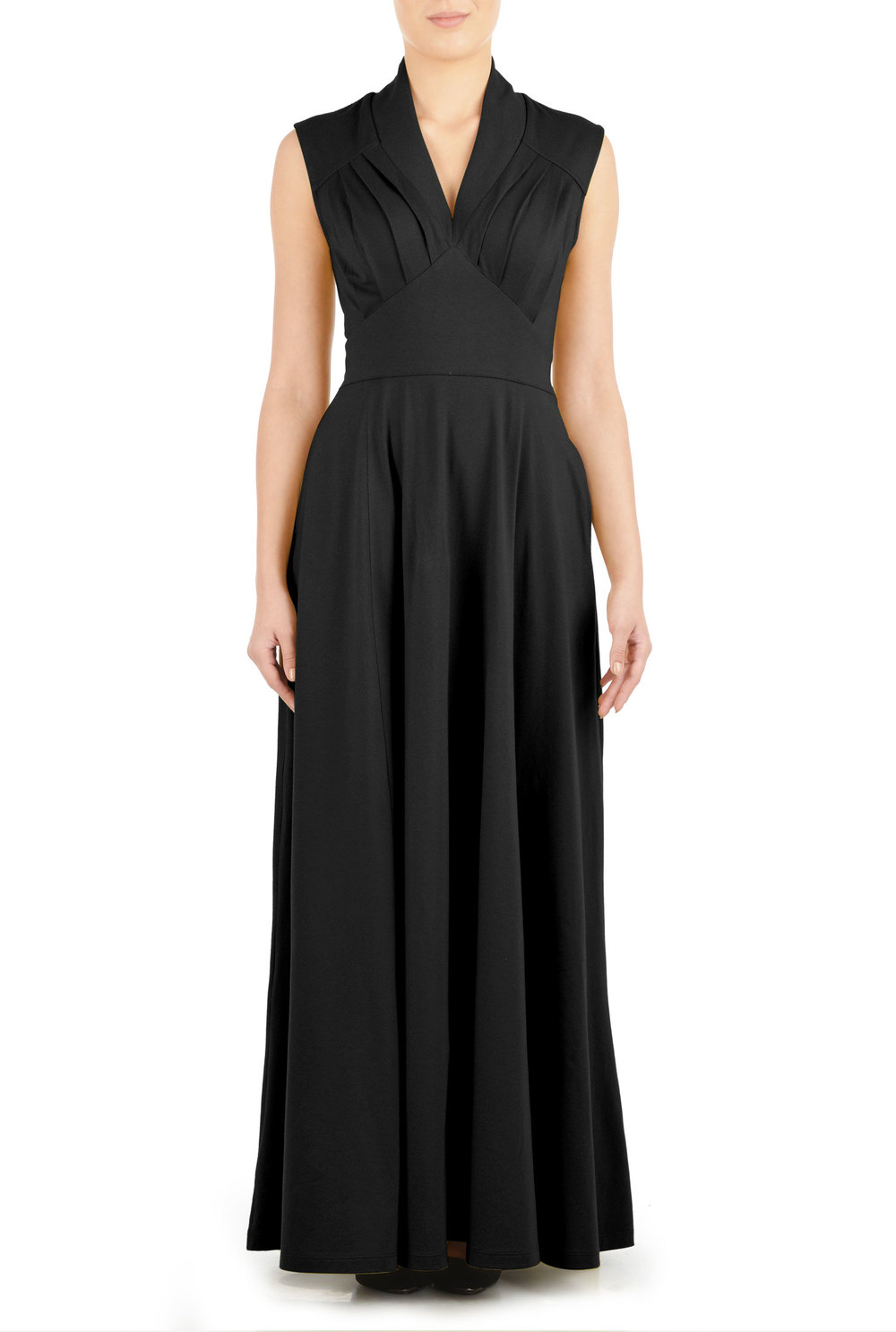 FEMININE PLEATED KNIT MAXI DRESS.eShakti. $69.Available: Additional 9 neckline, 7 sleeve type and 7 length option(s). Cotton!