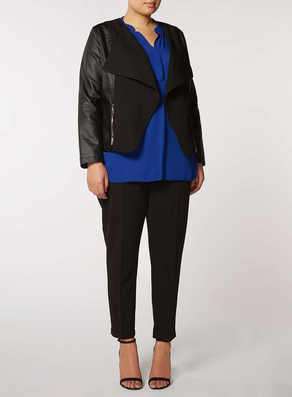 DP Curve Black PU Waterfall Jacket. Dorothy Perkins. $95. (polyurethane washable)
