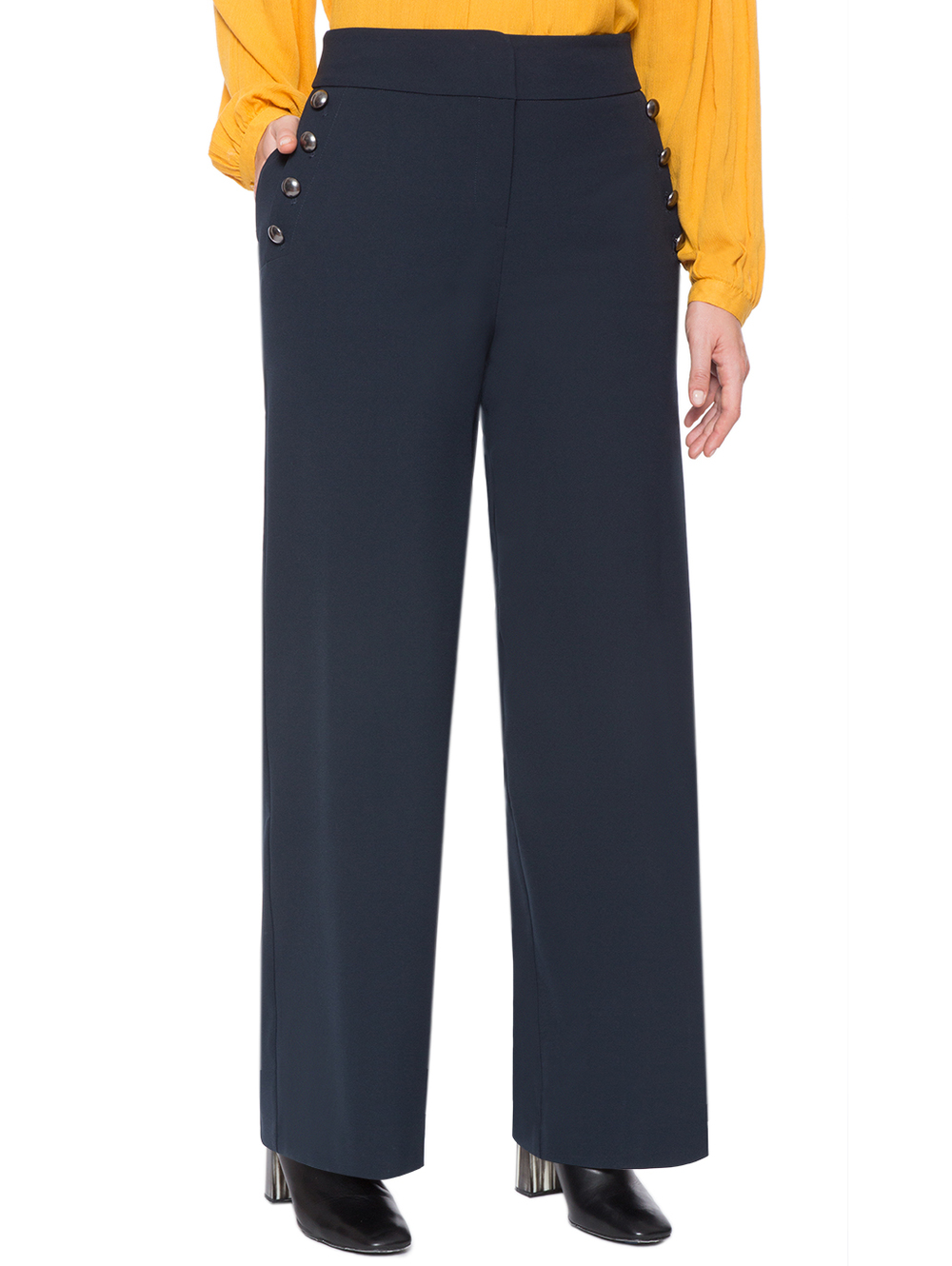 Button Detail Wide Leg Trouser. Eloquii. $59. ($50 off every $100 you spend with code: ENJOY). (midnight blue, Polyester)